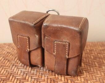 Vintage 1950s European Military Belt Pouches /  Brown / Leather / *Steampunk*