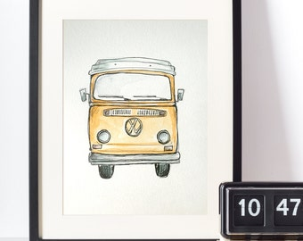 Original Watercolor VW kombi Van - Orange- vintage bus