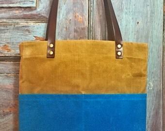 Hand Waxed Canvas Tote - Turquoise and Khaki Canvas | Tote bag, Handbag, Shoulder bag - Medium