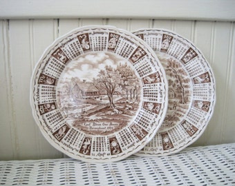 Vintage Alfred Meakin God Bless Our House Throughout 1975 Calendar Plate, Staffordshire England, Collector Plate, Zodiac, Brown Transferware