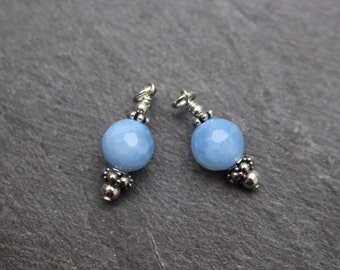 Set of 2 Blue Chalcedony Dangles, Charms, Earring Components, Sterling Silver