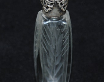 "Etched Glass Perfume Scent Bottle, ANTIQUE 1920's, French ""LA CASTILLERE"", Victorian"