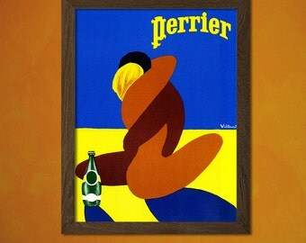Perrier Poster 1980 -  Vintage Kitchen Poster Kitchen Art Wall Art Kitchen Decor Food Poster Kitchen Prints Food Print Gift   Reproduction