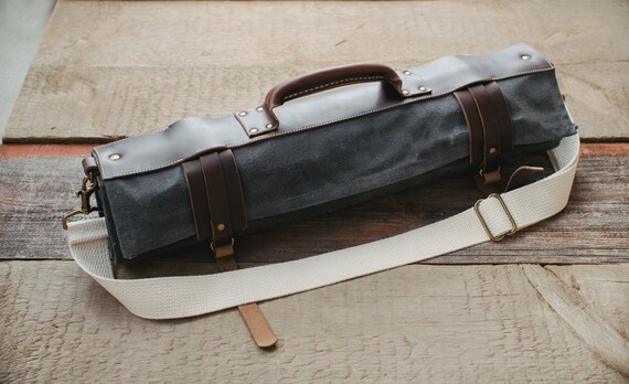 waxed canvas and leather chef knife roll knife bag the proper. Black Bedroom Furniture Sets. Home Design Ideas