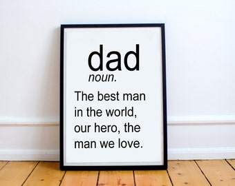 DEFINITION OF DAD Funny Wall Art Daddy Print Fathers Day Dad Art Modern Printable Art Father Quote Typewriter Dad Definition Holiday Art