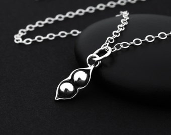 Two Peas in a Pod Necklace, 2 Peas in a Pod, Sterling Silver, Pea Pod Necklace, Mom of Twoi, Two Peas in a Pod Jewelry, Two Children