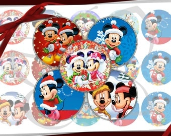 Mickey Mouse Christmas 1 inch Bottle Cap images -  600dpi  printable digital collage sheet, stickers,  magnets