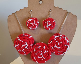 Rolled Fabric Rosette Flower Statement Necklace with Earrings in Red and White Bible Necklace