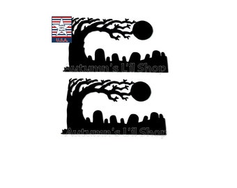Halloween Die Cut, Halloween Tree, Haunted Graveyard, Haunted Grave Die Cut, Scary Tree, Halloween Teacher Supplies, Grave Cut Out, 8 CT