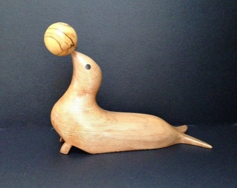 Hand Carved Wood Seal With Balancing Ball & Inlaid Wood