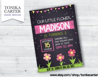Pink Flower Birthday Invitation