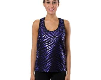 Workout Fashion Women's Black/Purple Zebra Tank Top