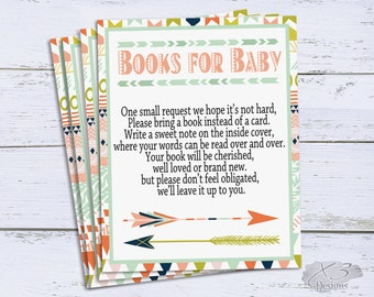 Book Request Baby Shower Printable, Books for Baby Insert, Tribal Bring a Book Instead of a Card, Bring A Book Insert, Book Request Card