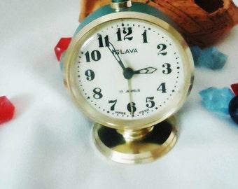 Vintage Alarm Clock ,Soviet Clock, Russian Clock , Mechanical Clock , Blue round clock , Slava,Vintage Russian Alarm Clock Soviet SLAVA,USSR