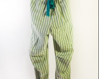 SALE. Green and white high waisted trousers Upcycled fabric. Handmade. Gift. For her, for him.