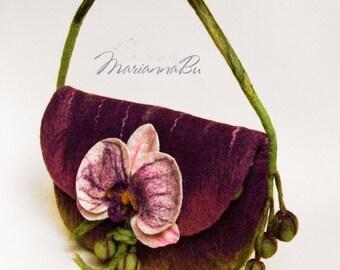 "Felt bag Felted wool bag ""Orchid"""