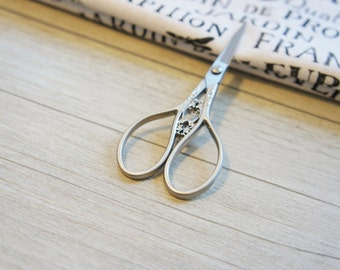 SILVER Antique Sewing scissor,  Gray Stainless Steel Scissors, decorative scissor, Scissors, sewing supplies, perfect gift