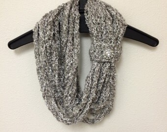 Infinity Scarf with jewel button embellishment