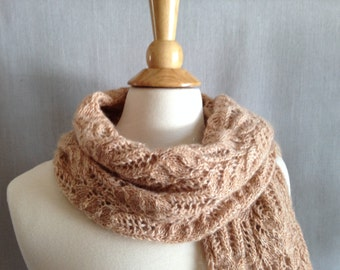 Mohair Lace Scarf/Wrap - handknit - made from vintage yarn