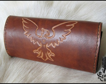 Pattern Eagle leather tobacco pouch / Leather tobacco pouch eagle