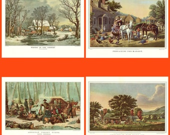 Set of four Currier and Ives Prints from the book Currier and Ives America