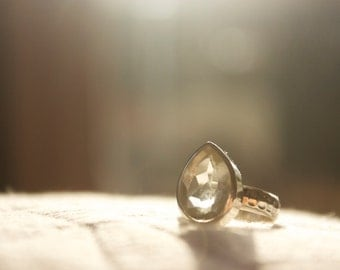 Teardrop Prasiolite Ring set in Sterling Silver with Beaten Silver Band