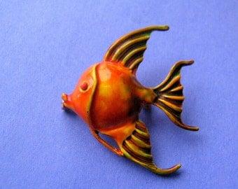 Original by Robert Orange Angelfish Brooch