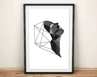 Geometric Profile Black Art Print
