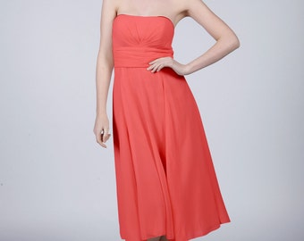 Coral Strapless Short Bridesmaid/Prom Dress by Matchimony