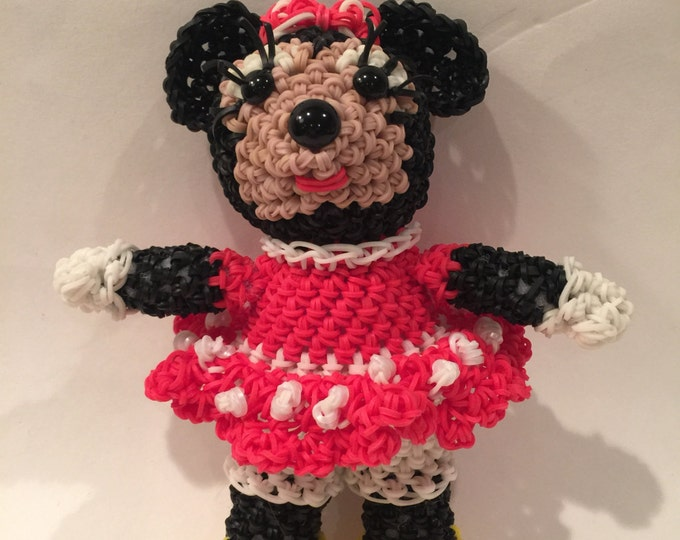 Disney's Minnie Mouse Rubber Band Figure, Rainbow Loom Loomigurumi, Rainbow Loom Disney
