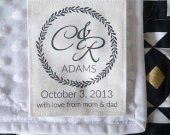 Cotton wedding Label, Custom fabric monogram, wedding blanket label,  knitting label - wedding monogram - fabric label, monogram - K14