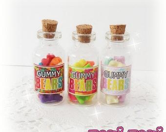 Gummy Bears Bottle Necklace, Gummy Bears Jar, Gummy Bears Necklace, Candy Jewelry, Kawaii Necklace, Bottle Charm, Miniature Food Jewelry