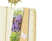 Texas Bluebonnets Photo Bookmark, Desert Wildflowers Big Bend Spring Blooms, Custom Texas Handmade, 7.25 x 2 wide