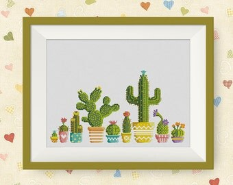 BUY 2, GET 1 FREE! Cactus Cross Stitch Pattern, pdf counted cross stitch pattern,  modern cross stitch pattern, Instant Download, #P203