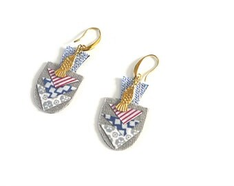 Fabric and Brass, Earrings - Triangle, Fish - Mosaic Geometry Triangle