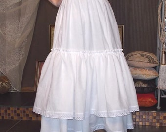 Bottom,white,long skirt,boho skirt,ladies underskirt lolita petticoat shabby chic clothing ruffled petticoat