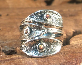 Sterling Ring Stylish Bohemian Women's textured Ring- Fire Opal & Sterling Silver Women's Ring