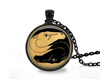 Yin Yang horse pendant Animal jewelry Antique necklace