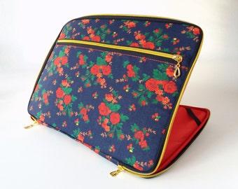 "Laptop case,12""-17"",red roses,navy blue,gold zipper pocket,padded,laptop cover 12,laptop sleeve 12,laptop skin 12,laptop decal 12,laptop bag"
