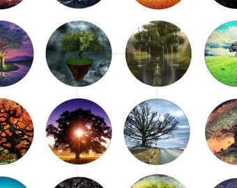 "Digital Download, Digital Collage Sheet, Instant Download, Scrapbooking, Tree, Nature, 1.5"", 1.25"", 1 inch, 30mm, 25mm circles, dcc016"