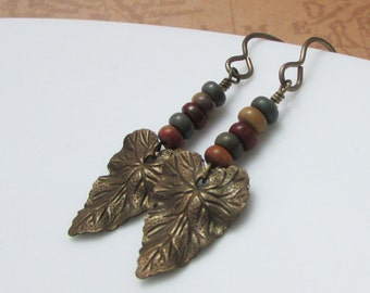 Colorful Seed Beads with Brass Leaf Charm on Vintaj Brass