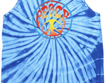 Psychedelic Peace Adult Tie Dye Tank Top PSYCHEDELIC-3500