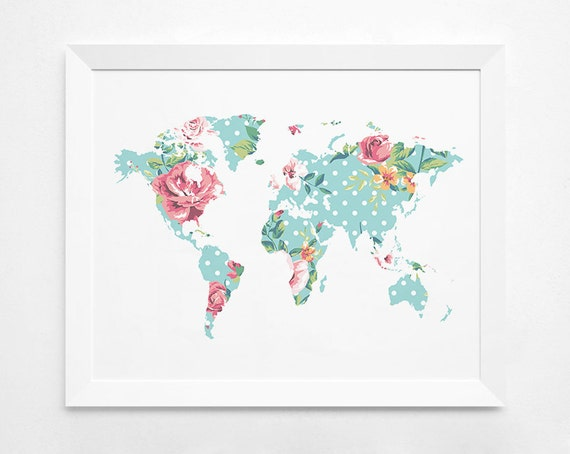 Floral world map art print instant download printable te gusta este artculo gumiabroncs Image collections