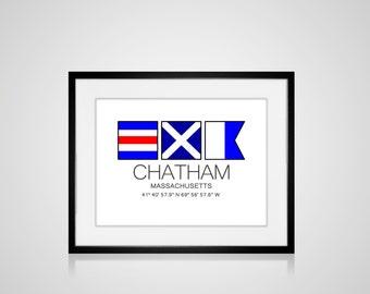 """CHATHAM, Massachusetts Nautical Flag Art Print  Is 8"""" x 10"""" Or 11"""" x 14"""" Ocean Beach Cabin Lodge Coastal Decor Home"""