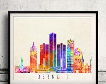 Detroit landmarks watercolor poster - Fine Art Print Landmarks skyline Poster Gift Illustration Artistic Colorful Landmarks - SKU 2034