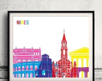 Nimes pop art skyline 8x10 in. to 12x16 in. Fine Art Print Glicee Poster Gift Illustration Pop Art Colorful Landmarks - SKU 1109