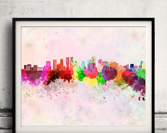 Mississauga skyline in watercolor background - Poster Digital Wall art Illustration Print Art Decorative - SKU 1414