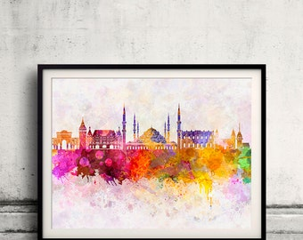 Istanbul skyline in watercolor background - Poster Digital Wall art Illustration Print Art Decorative - SKU 1906