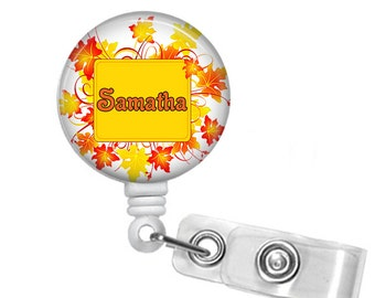 Personalized Fall Leaf Wreath, Retractable ID Badge Reel (D_156)
