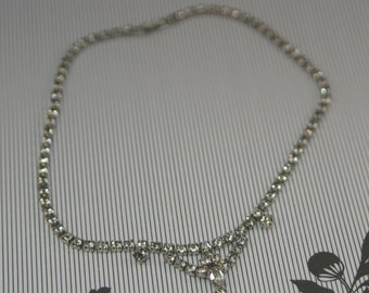 Rhinestone Necklace With Three Featured Stones and Small Drop 16 Inches